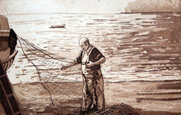 Pescador. Grabado