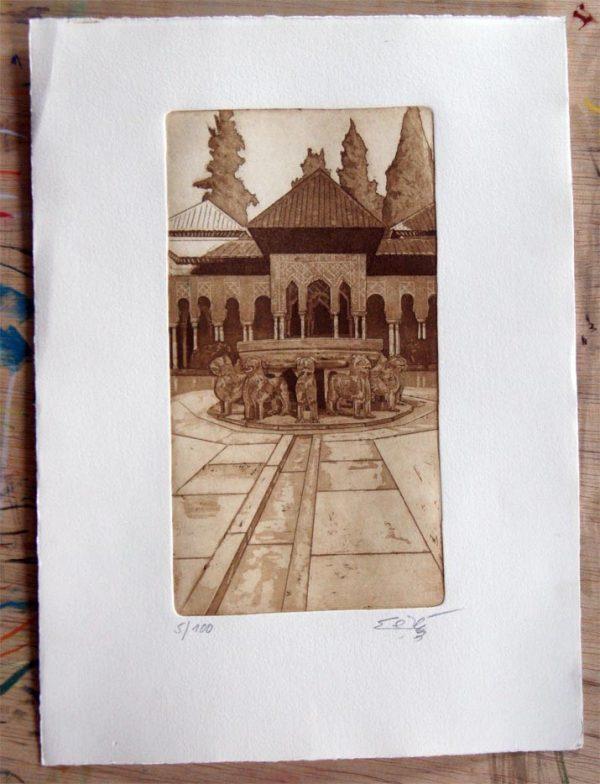 Patio Los Leones.Alhambra.Grabado