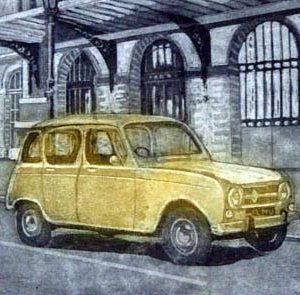 Renault 4 L. Grabado