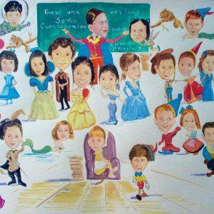 caricatura color grupo colectivo